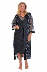 PRE ORDER: Glitter Floral Satin 2 in 1 Nightsuit - Black