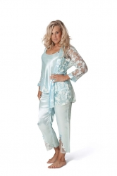 PRE ORDER: 3 in 1 Satin Nightsuit - Baby Blue