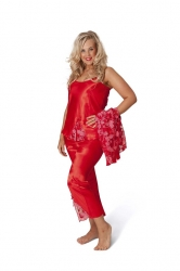 PRE ORDER: 3 in 1 Satin Nightsuit - Red