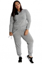 PRE ORDER: Ladies Plus Size Tracksuit Set - Grey
