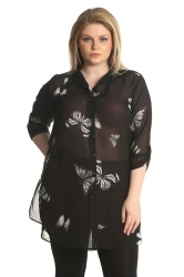 PRE ORDER: Chiffon Butterfly Side Slit Shirt/ Tunic - Black