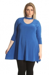 PRE ORDER: Soft Touch Choker Neck Top - Royal Blue