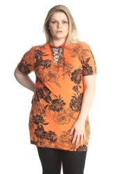 PRE ORDER: Floral Print Eyelet Top - Orange