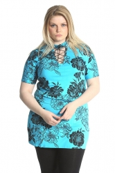 PRE ORDER: Floral Print Eyelet Top - Turquoise