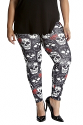 PRE ORDER: Halloween Sugar Skull Leggings - Black
