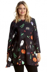 PRE ORDER: Halloween Pumpkin Ghost Broom Swing Top - Black