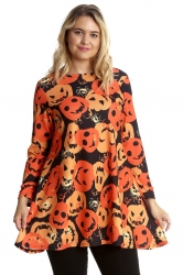 PRE ORDER: Halloween Pumpkin Spider Swing Top - Orange