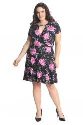 PRE ORDER: Lovely Rose Print Cutout Tunic Dress - Black & Pink