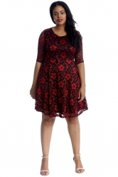 PRE ORDER: Two Tone Floral Lace Skater Dress - Red