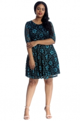 PRE ORDER: Two Tone Floral Lace Skater Dress - Turquoise