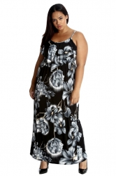 PRE ORDER: Vibrant Summer Floral Print Tank Top Maxi Dress -Grey
