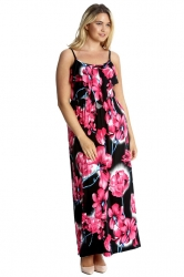PRE ORDER: Vibrant Summer Floral Print Tank Top Maxi Dress -Pink