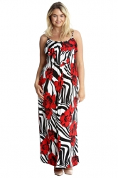 PRE ORDER: Vibrant Summer Floral Print Tank Top Maxi Dress - Red