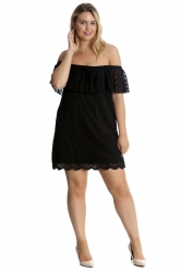 PRE ORDER:Sexy Lace Off-Shoulder Bardot Frill Tunic/Dress -Black