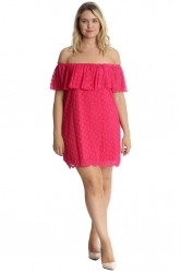 PRE ORDER:Sexy Lace Off-Shoulder Bardot Frill Tunic/Dress-Cerise