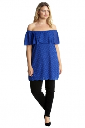 PRE ORDER:Sexy Lace Off-Shoulder Bardot Frill Tunic/Dress - Blue