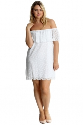 PRE ORDER:Sexy Lace Off-Shoulder Bardot Frill Tunic/Dress -White