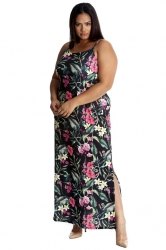 PRE ORDER: Tropical Garden Side Slit Maxi Dress - Black