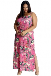 PRE ORDER: Tropical Garden Side Slit Maxi Dress - Pink