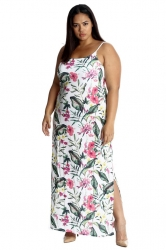 PRE ORDER: Tropical Garden Side Slit Maxi Dress - White