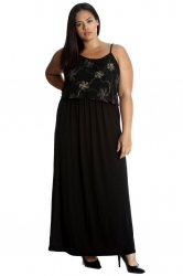 PRE ORDER: Stylish Two Layer Foil Print Maxi Dress- Black/Gold