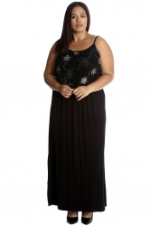 PRE ORDER: Stylish Two Layer Foil Print Maxi Dress- Black/Silver