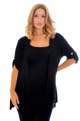 PRE ORDER: Versatile Open Waterfall Tab Sleeve Cardigan - Black