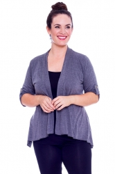 PRE ORDER: Versatile Open Waterfall Tab Sleeve Cardigan-Charcoal