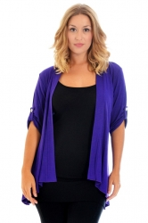 PRE ORDER: Versatile Open Waterfall Tab Sleeve Cardigan - Purple