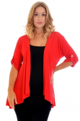 PRE ORDER: Versatile Open Waterfall Tab Sleeve Cardigan - Red