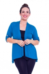 PRE ORDER: Versatile Open Waterfall Tab Sleeve Cardigan - Teal