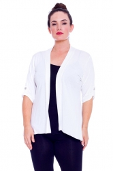 PRE ORDER: Versatile Open Waterfall Tab Sleeve Cardigan - White