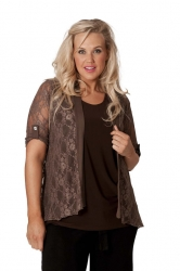 PRE ORDER: Lovely Lace Open Waterfall Tab Sleeve Cardigan-Brown