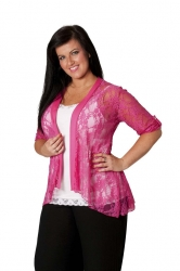 PRE ORDER: Lovely Lace Open Waterfall Tab Sleeve Cardigan-Cerise