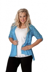 PRE ORDER: Lovely Lace Open Waterfall Tab Sleeve Cardigan-Turq