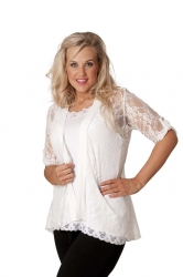 PRE ORDER: Lovely Lace Open Waterfall Tab Sleeve Cardigan-White