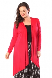 PRE ORDER: Long Length Open Front Waterfall Cardigan - Red