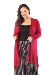 PRE ORDER: Long Length Open Front Waterfall Cardigan - Wine