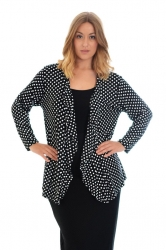 PRE ORDER: Cute Polka Dot Waterfall Cardigan - Black