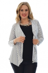 PRE ORDER: Cute Polka Dot Waterfall Cardigan - White