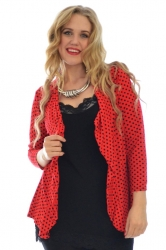 PRE ORDER: Cute Polka Dot Waterfall Cardigan - Red