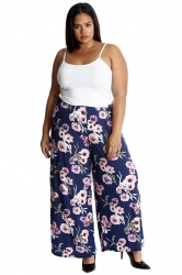 PRE ORDER: Bold & Vibrant Floral Print Palazzos - Blue & Pink