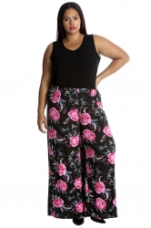 PRE ORDER: Bold & Vibrant Floral Print Palazzos - Black & Pink
