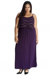 PRE ORDER: Stylish Two Layer Sequin Lace Maxi Dress - Purple