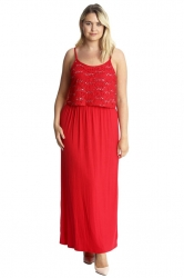 PRE ORDER: Stylish Two Layer Sequin Lace Maxi Dress - Red