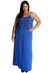 PRE ORDER: Stylish Two Layer Sequin Lace Maxi Dress - Royal Blue