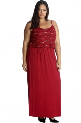 PRE ORDER: Stylish Two Layer Sequin Lace Maxi Dress - Wine