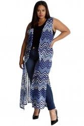 PRE ORDER: Fabulous Long Sleeveless Cardi- Blue Chevron Crochet