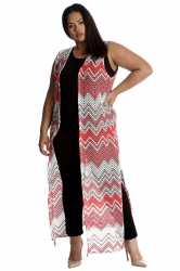 PRE ORDER: Fabulous Long Sleeveless Cardi- Coral Chevron Crochet
