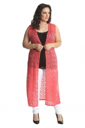 PRE ORDER: Fabulous Long Sleeveless Cardi- Coral Floral Lace